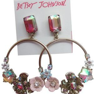 Betsey Johnson Gold Multi-Floral Hoop Earrings